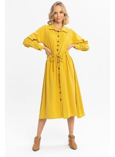 Tiffany&Tomato Beli Büzgülü Uzun Gömlek Elbise-Tarçın Sarı